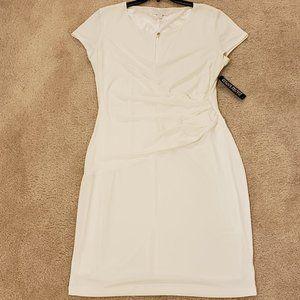 NY&Co Stretch White Faux Wrap Dress